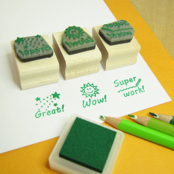Teacher Stamps Teacher Rubber Stamp Set by skullandcrossbuns
