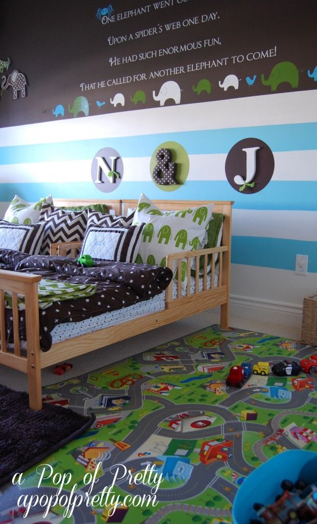 Bedroom Two: Twin Boys (Age 5) Room: Analogous Color Scheme (Yellow-Green, Green, Blue-Green) The Wall decals are the focal point. This room is perfect for their age, however I would seperate their beds.