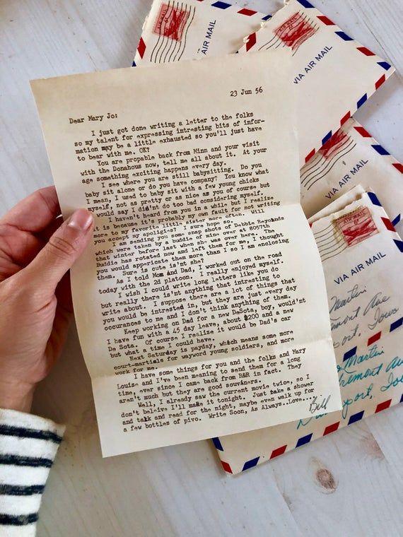 Bundle Of 5 Vintage Handwritten Letters 1950 S Soldier Etsy Pen Pal Letters Mail Art Envelopes Handwritten Letters