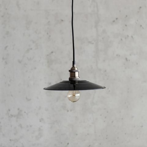 Hanglamp retro, zwart met chrome fitting