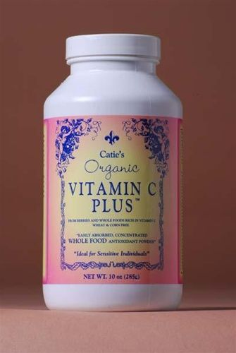 Catie's Whole Food Vitamin C Plus is REAL Vitamin C by Energy Essentials -  Whole Food Vitamin C is a super concentrated blend of chemical free and preservative free fruits and vegetables with abundant nutrients in a wonderful tasting powder with 250% Daily Value of Vitamin C per serving.