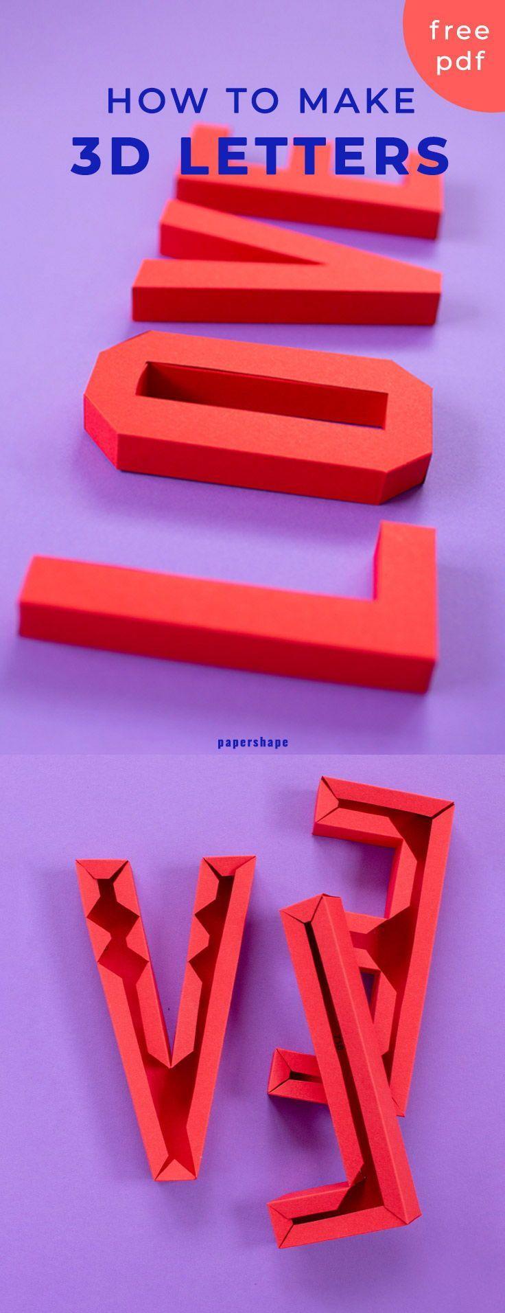 3d LOVE Schriftzug basteln mit Papier (kostenlose Vorlage)
