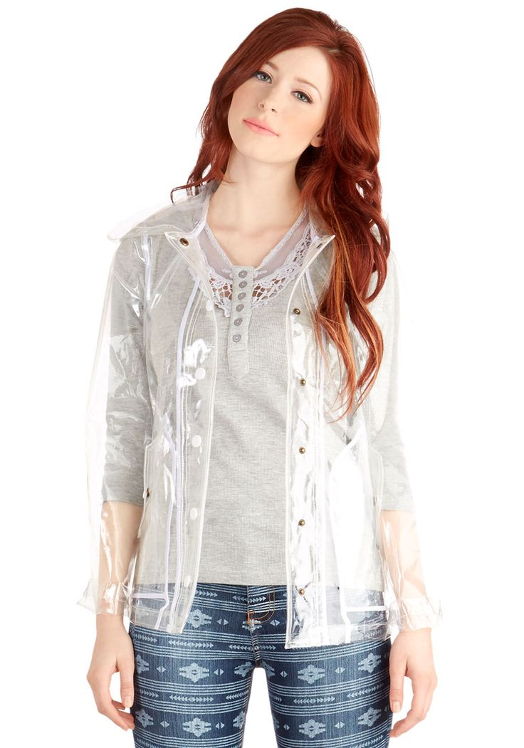 I kind of love this clear raincoat.  My Fair Festival Raincoat | Mod Retro Vintage Jackets | ModCloth.com