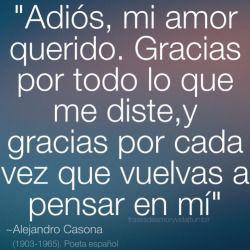 Frases de despedida y desamor ~Alejandro Casona.   Adiós mi amor querido. Gracias por todo lo que me diste, y gracias por cada vez que vuelvas a a pensar en mi.