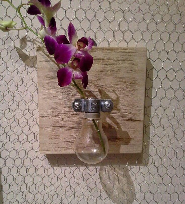 portafiore vaso vintage industriale applique decorazione parete