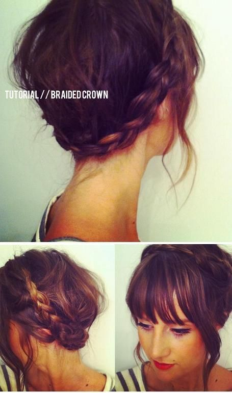 Braided Crown Wedding Hair With My Big Bushy Fringe And Lots Of