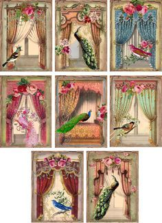 Vintage inspired peacock birds french windows cards tags ATC altered art set 8