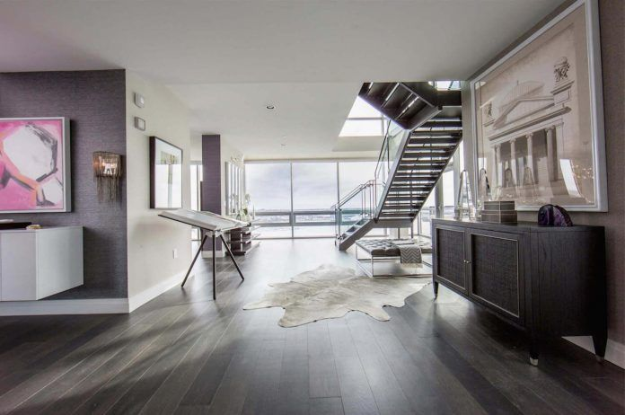 Penthouse with floor to ceiling windows on both floors and 360-degree views of Baltimore - CAANdesign   Architecture and home design blog