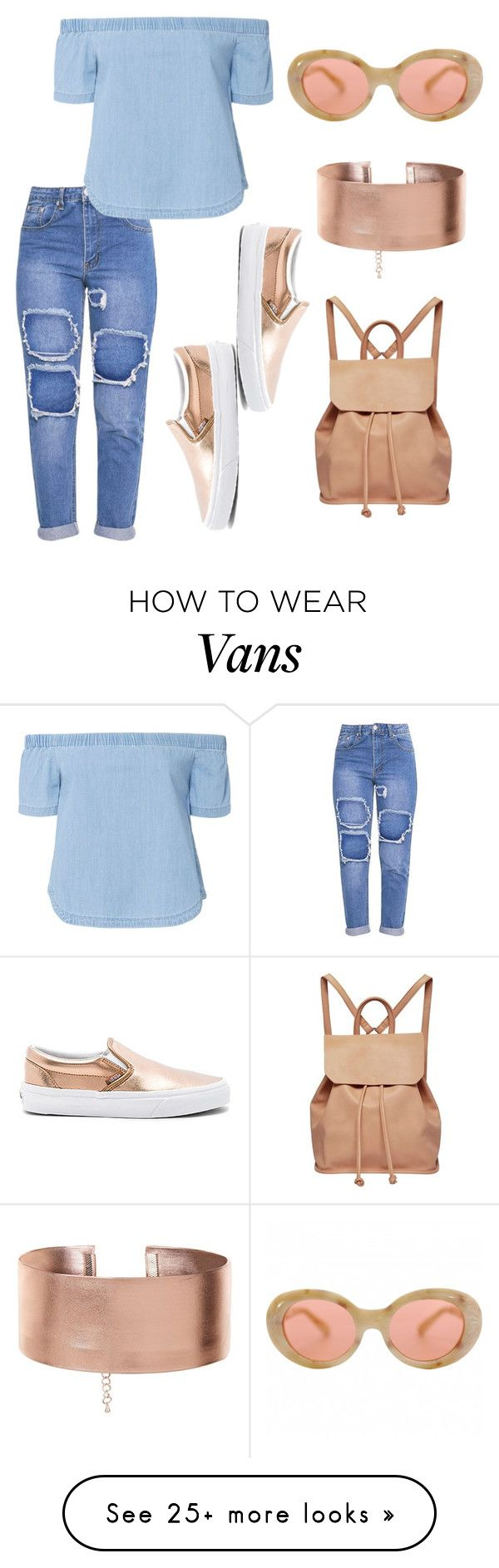 """blue and rose gold"" by stunnerjoy on Polyvore featuring Vans, Acne Studios, Urban Originals and 3x1"