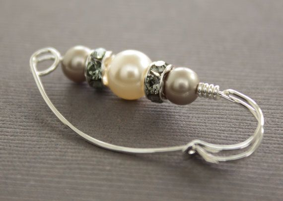 Sterling silver shawl pin scarf pin with Swarovski by IngoDesign, $24.00