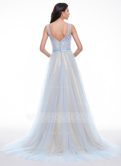 A-Line/Princess Scoop Neck Court Train Tulle Charmeuse Prom Dress With Lace Beading Sequins (018059411)