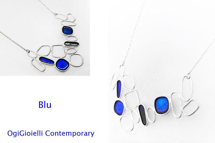 """""""Blu, aka Capricciosa"""", 2014  Girocollo, argento 925, smalto. Necklace, silver 925, enamel."""