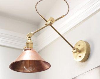 Kostenloser Versand! Messing, verstellbare industrielle Wandleuchte mit Kupfer Schatten Goldmessing Boom Licht Apotheke Edison zu artikulieren