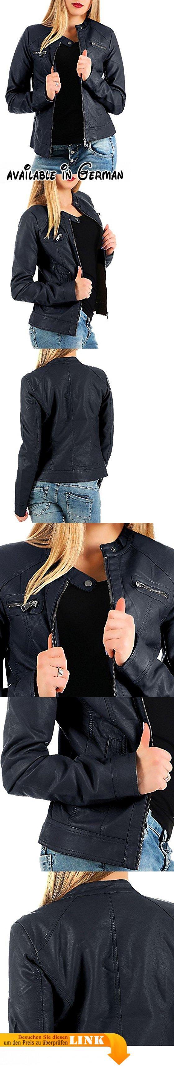 ONLY - BANDIT - Leder PU Jacke Biker - Damen, Farbe:Navy Blue;Größe:XS / 34. moderne Biker-Jacke aus weichem Lederimitat, cool, hip und absolut angesagt. die Damen-Jacke ist hüftlang geschnitten und wirkt mit ihrer taillierten Passform sehr feminin. Verschluß: Reißverschluß; Ausschnitt: kleiner Kragen mit Knopfverschluß. der Kunstleder-Blouson besitzt zwei Eingriffstaschen seitlich und zwei Zipper-Taschen auf der Brust. leicht gefüttert, ideal für Frühjahr, Sommer