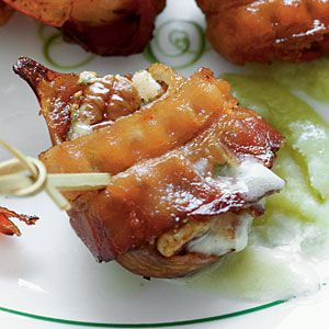 Bacon-Wrapped Bourbon Figs:   12 dried Calimyrna figs.  1/4 cup bourbon.  1 (2- to 4-oz.) wedge Gorgonzola cheese, cut into 24 pieces.  24 pecan halves, toasted.  12 fully-cooked bacon slices, cut in half crosswise.  Wooden picks.