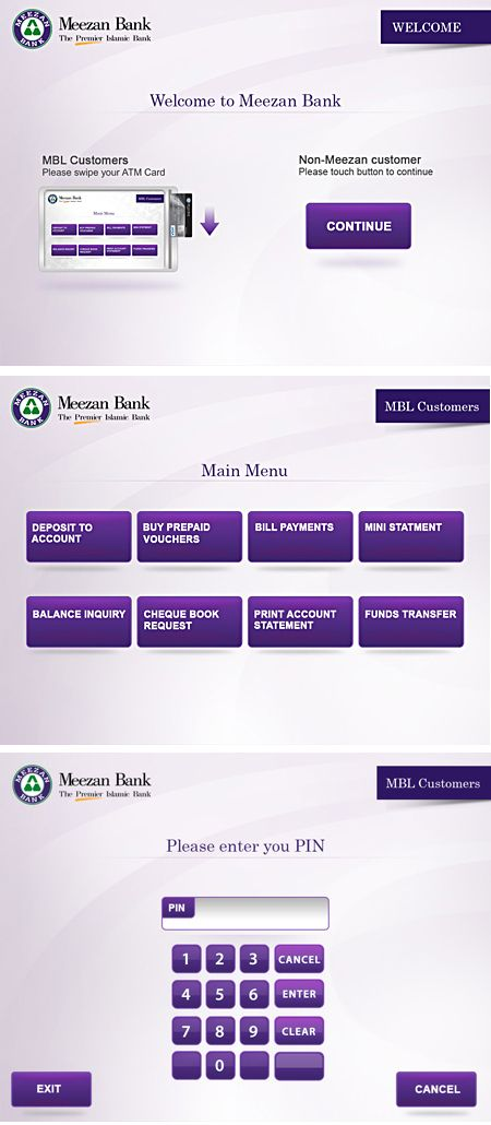 Meezan Bank - Kiosk Screens by Naumeena Suhail, via Behance