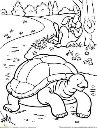 Worksheets: Color the Tortoise and the Hare