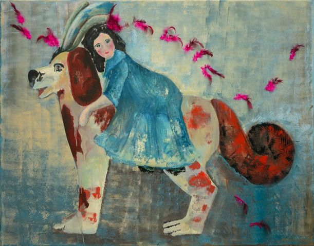 Marianna Katsoulidi, Girl riding dog, 2011, mixed media on canvas, 110 x 140 cm   Human Toys Collection (http://www.dlfineartsgallery.com/exhibit/%CE%BC%CE%B1%CF%81%CE%B9%CE%B1%CE%BD%CE%BD%CE%B1-%CE%BA%CE%B1%CF%84%CF%83%CE%BF%CF%85%CE%BB%CE%B9%CE%B4%CE%B7-marianna-katsoulidi/cQIyVXWubIaTJw)
