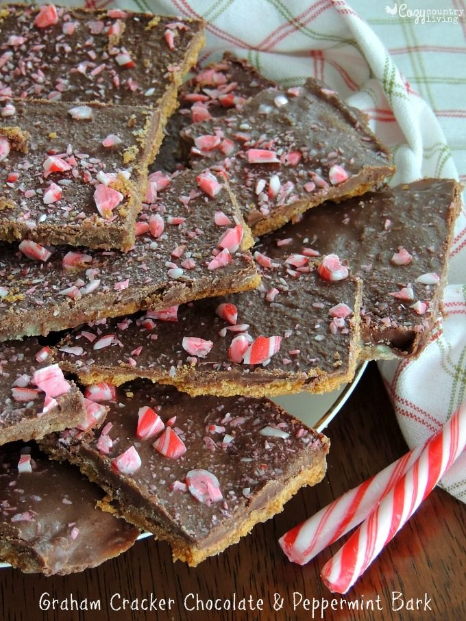 For a quick and easy recipe, try Cozy Country Living's Graham Cracker Chocolate & Peppermint Bark made with Honey Maid Graham Crackers.