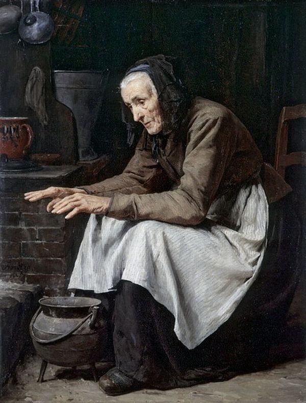 Anker Albert ( 1831-1910) Swiss painter        « Alte Frau sich warmen», 1885, (?), (?)