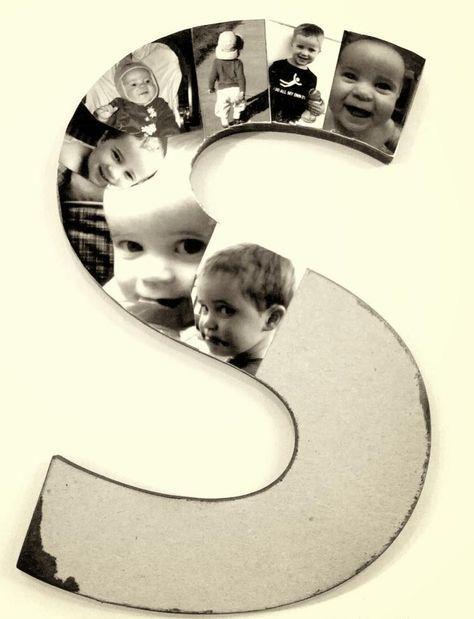 pêle mêle photos à faire soi-même - un monogramme décoré de photos d'un petit garçon découpées et distribuées soigneusement