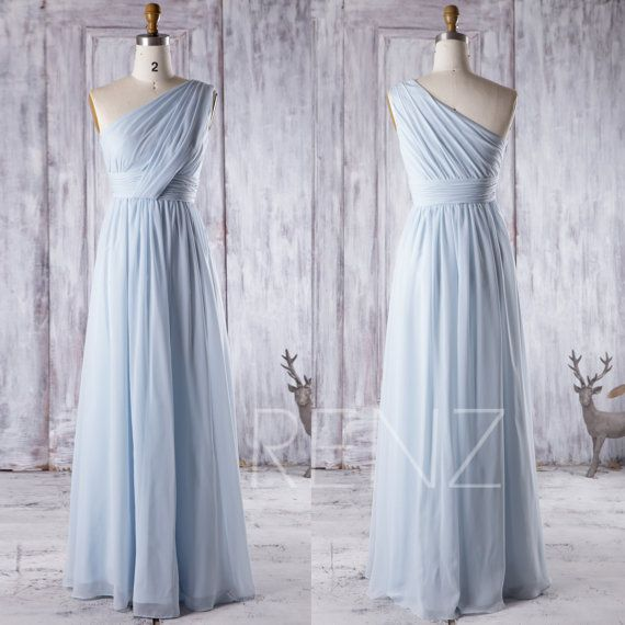 2016 Light Blue Bridesmaid Dress Long, One Shoulder Chiffon Maxi Dress, Ice Blue…
