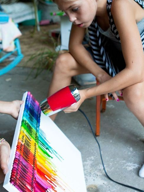 very cool craft project with a canvas and crayons