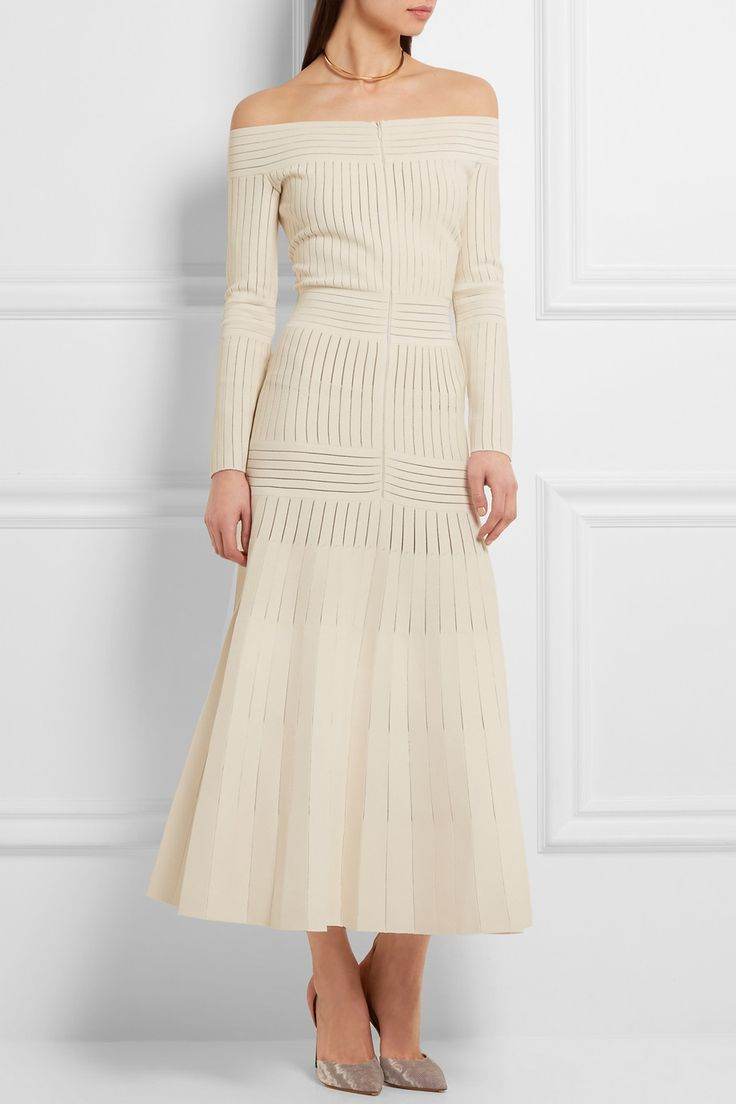 Barbara Casasola | Off-the-shoulder mesh-paneled stretch-jersey dress | NET-A-PORTER.COM