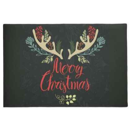 #Christmas Holiday Door Mat-Antlers Mooy Christmas Doormat - #country gifts style diy gift ideas