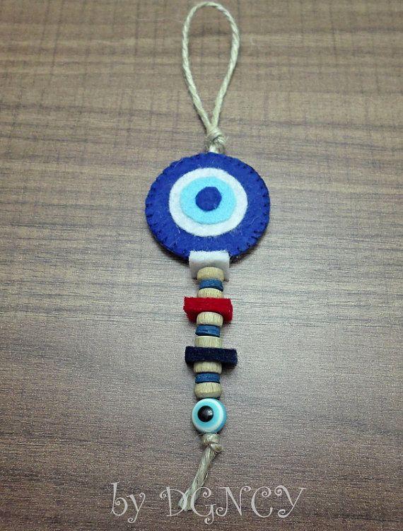 Felt evil eye bead ornamentEvil eye handmade by DGNCY on Etsy
