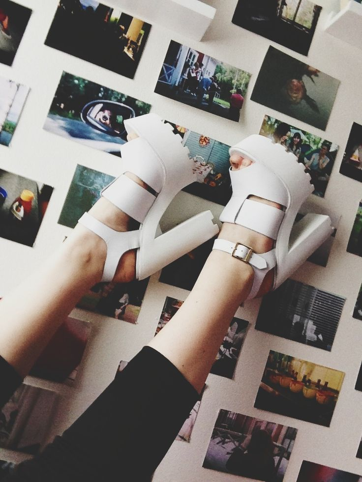 Chunky white heels are my fav .: