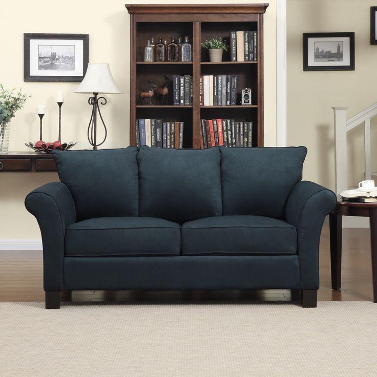 Latest Portfolio Provant Flared Arm Dark Blue Microfiber Sofa Overstock™ Shopping Amazing - Lovely Blue Microfiber sofa Beautiful