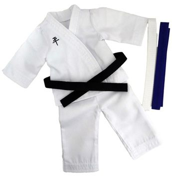 This Martial Arts uniform is perfect for Karate, Judo, Taekwondo and Tai Chi.  Comes with 3 different belts so your doll can begin at White level and progress to Black Belt.