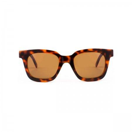 Lucy Ferres sunglasses with a fluoline havana orange frame. Standard brown lenses.