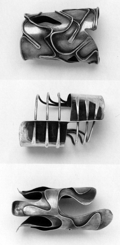 "Cuff bracelets | Art Smith. Top) ""Baker"". ca. 1959. Middle) ""Modern"". ca. 1948. Bottom) ""Lava"" ca. 1946."
