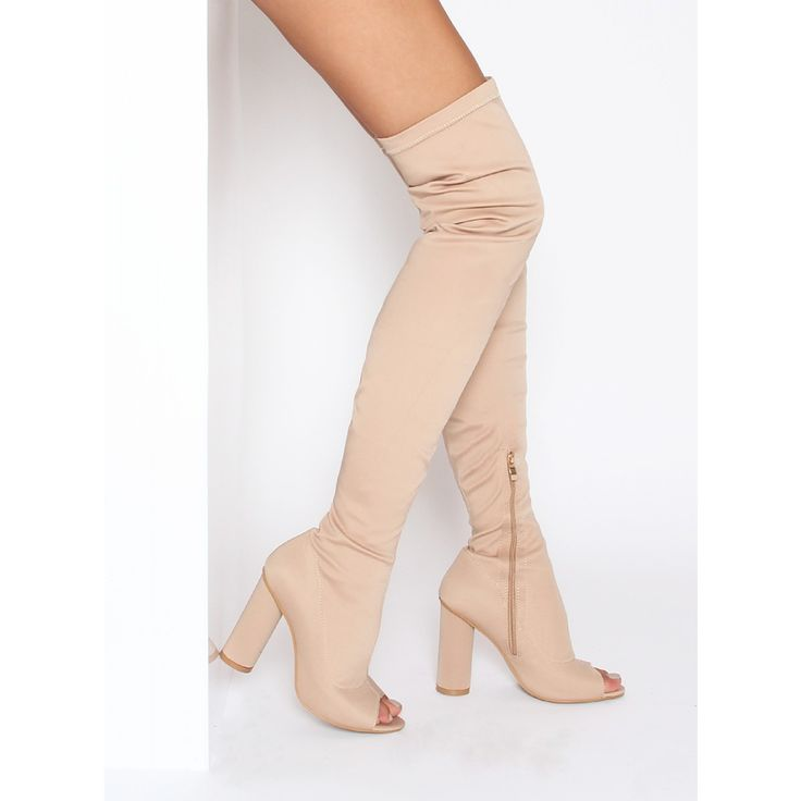 Reyna Nude Stretch Lycra Peep Toe Thigh High Boots : Simmi Shoes