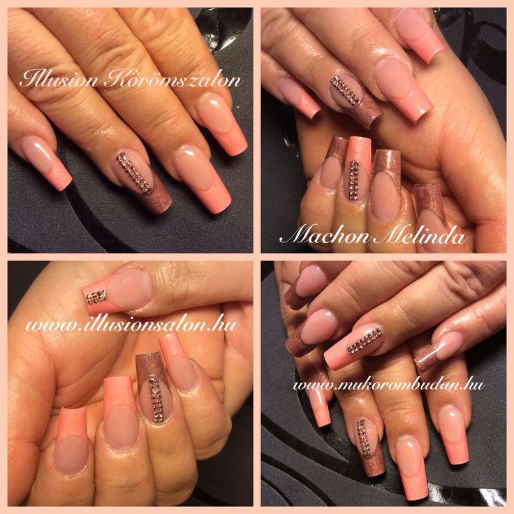 Peach and brown nails, rose gold Swarovski