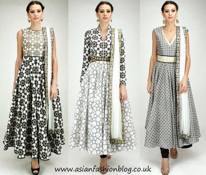Geometric print anarkali dresses by SVA couture