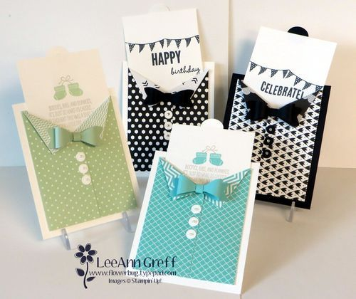 Suit & Bow-Tie card using the Mini Treat Bag Thinlits die. So easy! Watch my video to see how.