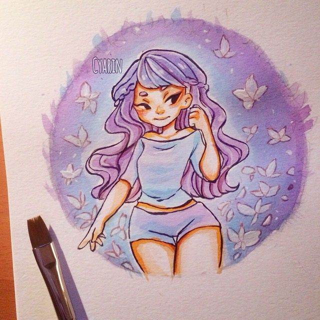 Laura Brouwers @cyarine Small practice with indian ink and ecoline watercolors...Instagram photo | Websta (Webstagram)