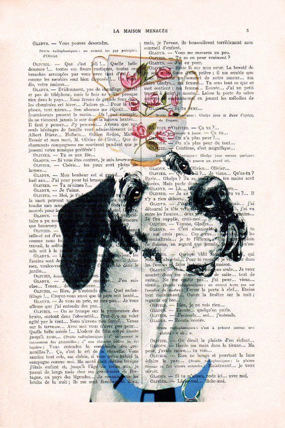Duitse Dog harlekijn met thee kopjes op zijn hoofd  Originele Print op antieke pagina van 1900.  De echte antieke papier, die ik gebruik komt uit de jaren 1900 originele antieke Franse boekenpagina.  De pagina is ongeveer 7,5 x 11.4(19 x 29 cm).  Elke creatie is uniek, ontvangt u de vergelijkbare afbeelding maar op een andere pagina van het antieke papier met inbegrip van de tekenen van de schoonheid door de tijd (vlekken, hoek bochten, ongelijke prenten, enz.). Uw art print zal worden…