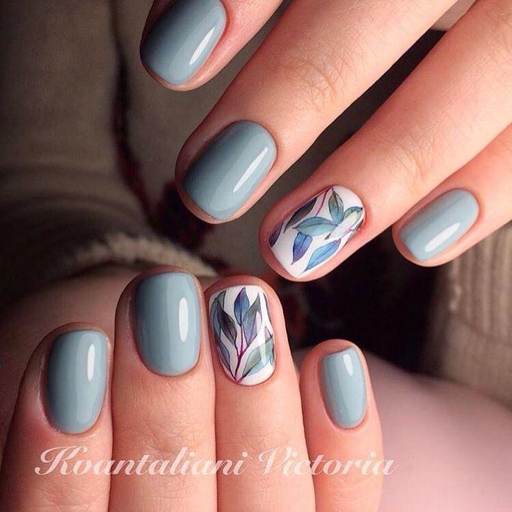 Beautiful delicate nails, Delicate spring nails, Fresh nails, Hardware nails, Leaves nails, Nails trends 2017, Painted nail designs, ring finger nails