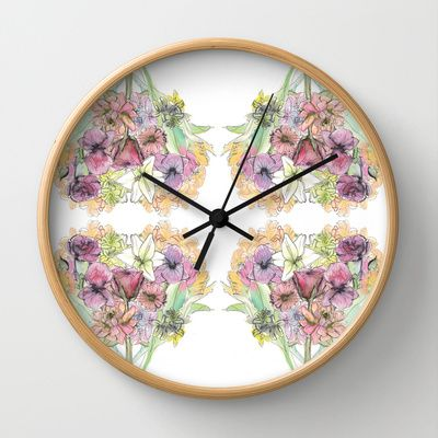 floral love Wall Clock by Joyce Cuda - $30.00