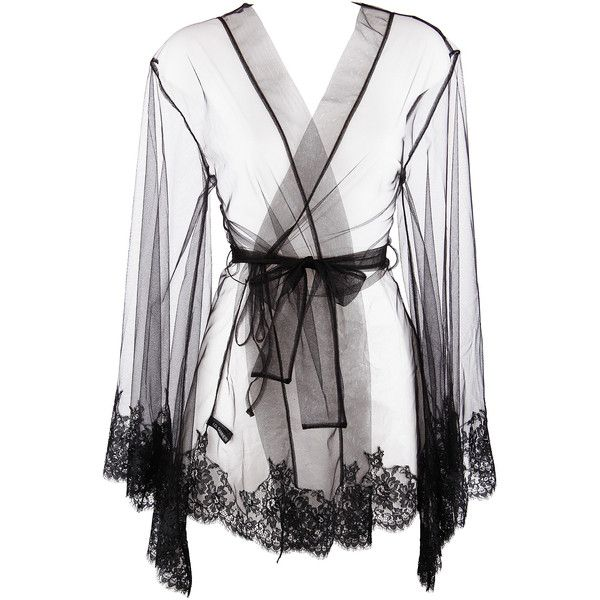 I.D. Sarrieri Five Drops of Perfume Robe ($555) ❤ liked on Polyvore featuring intimates, robes, lingerie, underwear, intimate, jackets, lace dressing gown, lace robe, lacy lingerie and lace lingerie