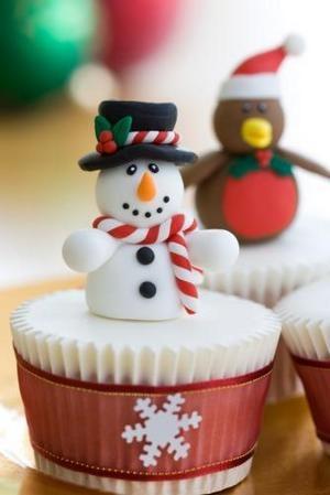 Snowman topper on cupcake