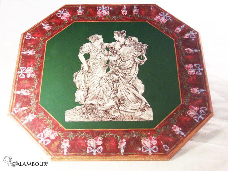 ROMAN TABLE MAT - Wonderful wooden table mat decorated with 3 muses with Calambour paper for decoupage. /// SOTTOPIATTO ROMANO - Bel sottopiatto di legno decorato con tre muse con la carta per il decoupage di Calambour http://www.calambour.it/en/our-papers/paper-for-classic-decoupage/ad.html#!AD_004 http://www.calambour.it/en/our-papers/paper-for-classic-decoupage/ad.html#!AD_006