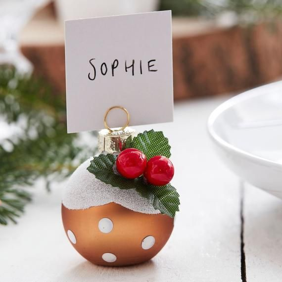 Christmas Pudding Christmas Bauble Place Card Holders Let It