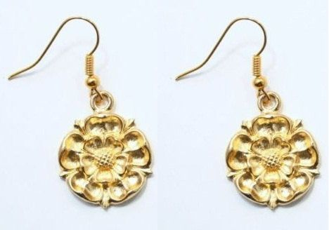 Gold Plated Pair of Tudor Rose Earrings in fine English Pewter.