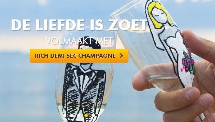 Liefde is zoet en volmaakt met Richt Demi Sec Champagne http://www.flesjewijn.com/wijnen/pol+roger+rich+demi+sec+champagne+7864