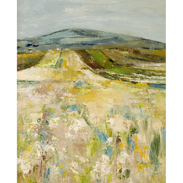 Perpetua Pope - MEADOW WITH DISTANT HILLS, oil on...